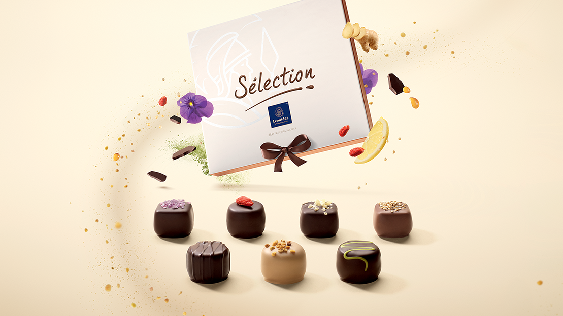 selection chocolates with box and ingredients